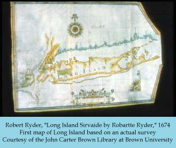 Robert Ryder map of Long Island, 1674